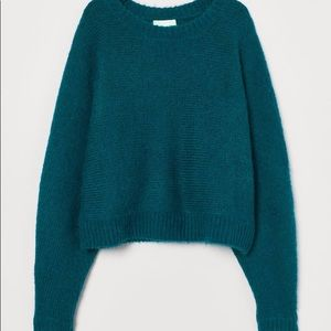Deep turquoise cropped sweater with dolman sleeves